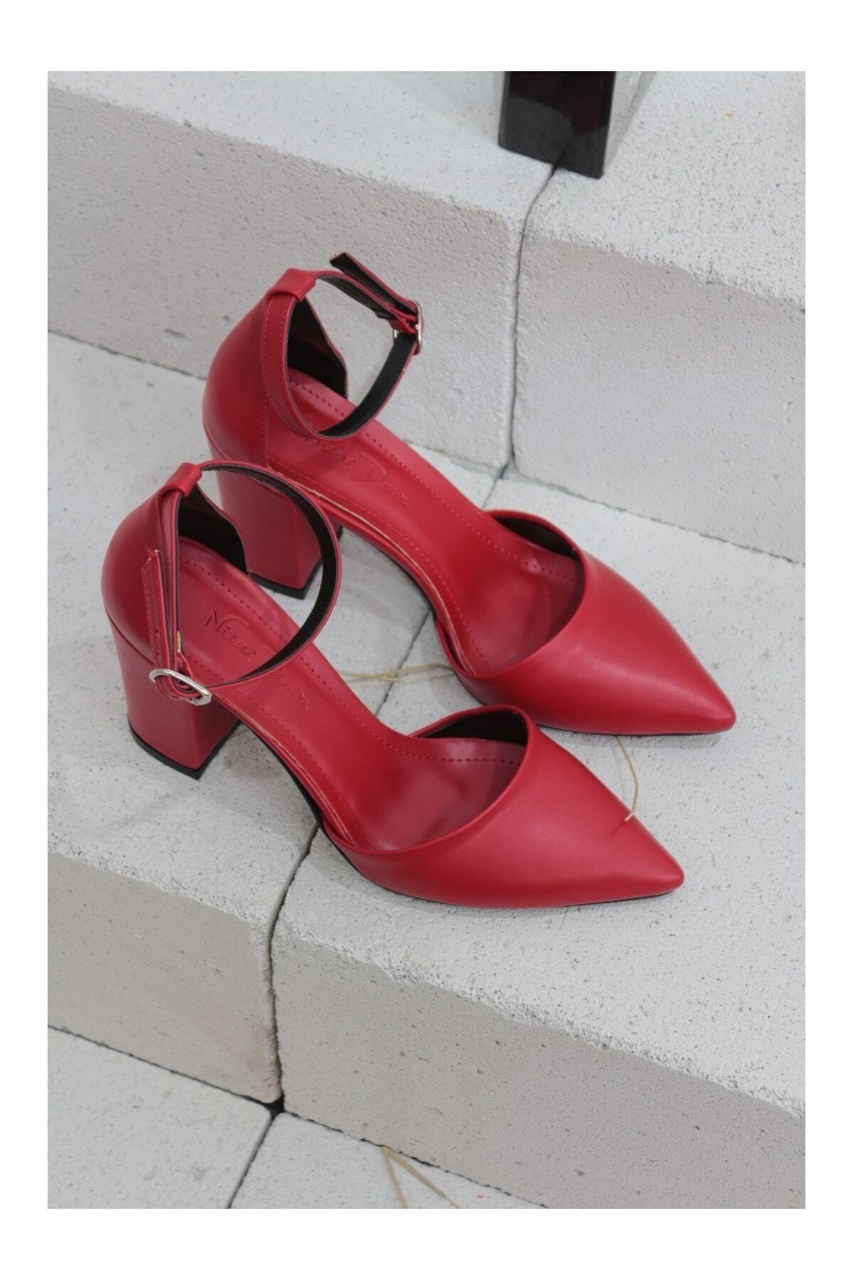 Kadın Kırmızı Sivri Burun Kalın Topuklu Ayakkabı