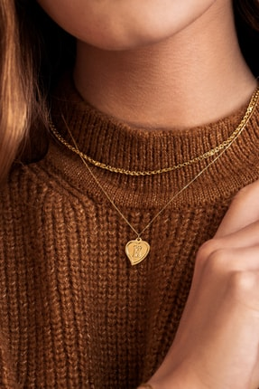 Gelin Pırlanta Kadın Altın 14 Ayar Kalp H Harfi Kolye 1