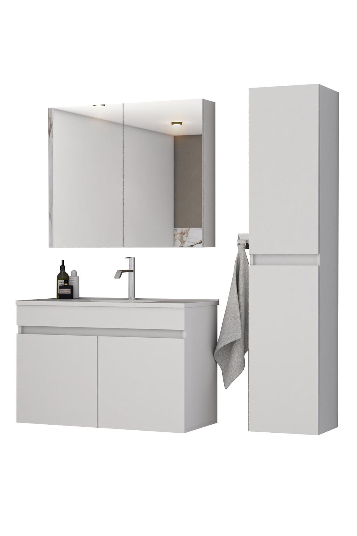 Tm3 Ayaksız 2 Kapaklı Lavabolu Beyaz Mdf 85 Cm Banyo Dolabı Aynalı Üst Dolap Boy Dolabı