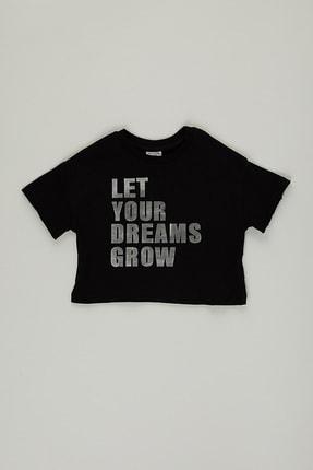 PAULMARK Kız Çocuk Siyah Parlak Yazılı T-shirt 0