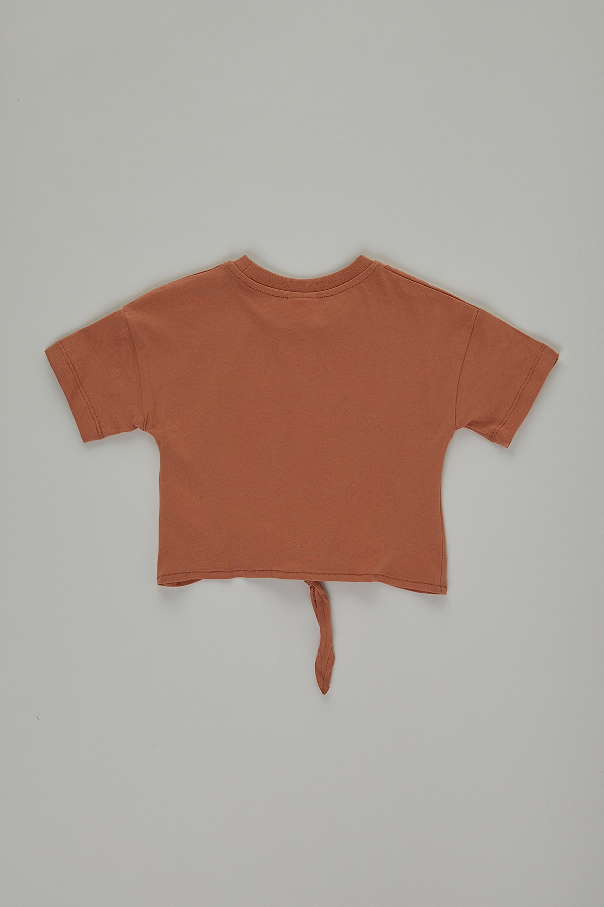 PAULMARK Kız Çocuk Turuncu Bağlama Detaylı T-shirt