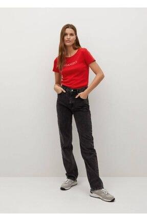 Mango Kadın Kırmızı Organik Pamuklu Logolu Tişört 1