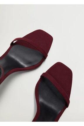 Mango Kadın Bordo Bilekten Bağlamalı Sandalet 3