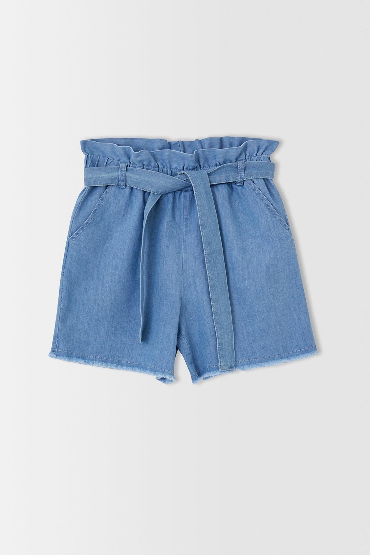 Kız Çocuk Mavi Esnek Belli Kuşaklı Jean Şort