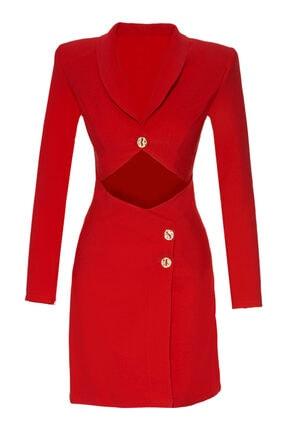 Kırmızı Krep Uzun Kol Kısa Elbise 964956-013