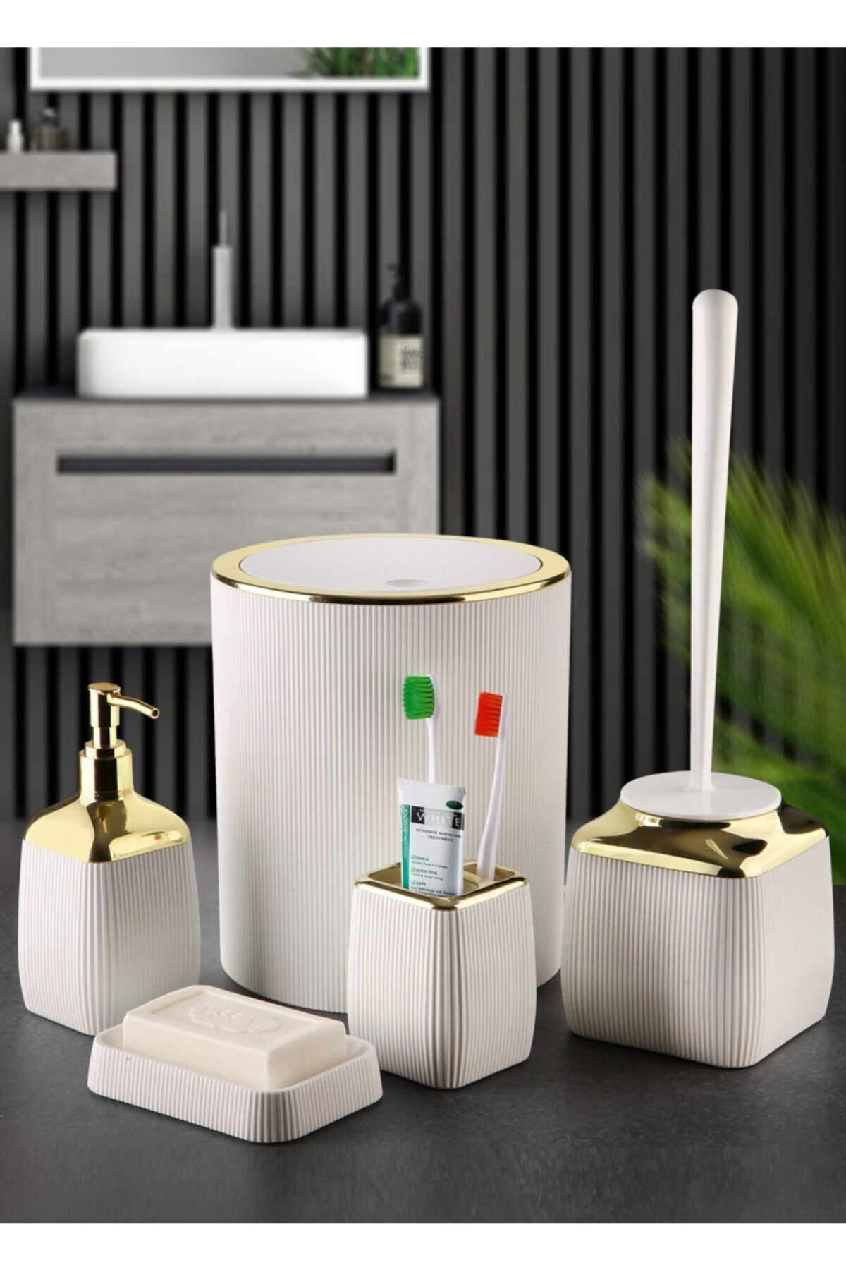 Gold Serisi Beyaz Çizgili 5'li Banyo Seti