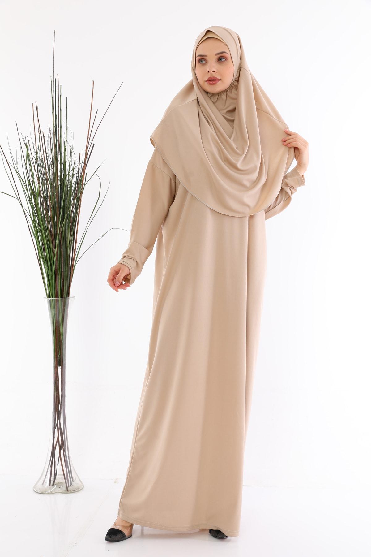 Kadın Kolay Giyilebilen Tek Parça Elbisesi Vizon Büyük Beden