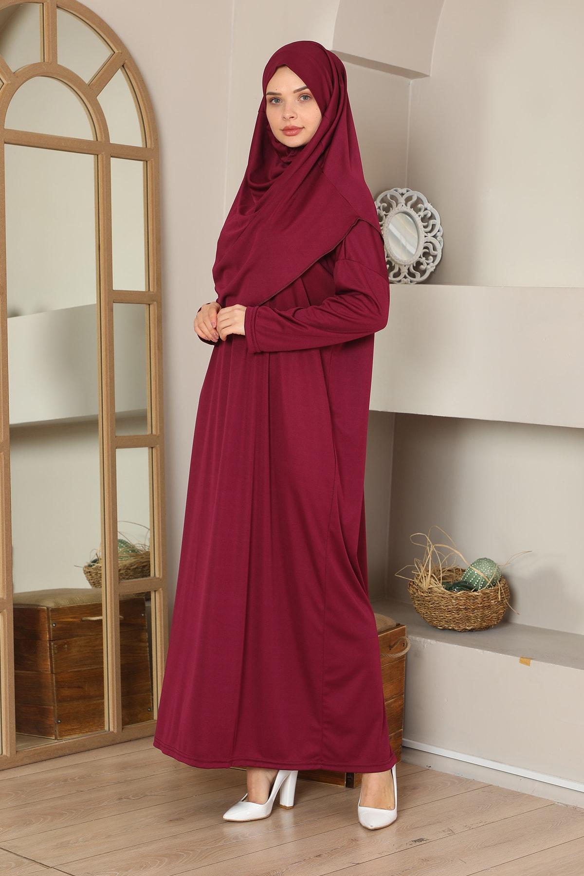 Kolay Giyilebilen Tek Parça Namaz Elbisesi Bordo