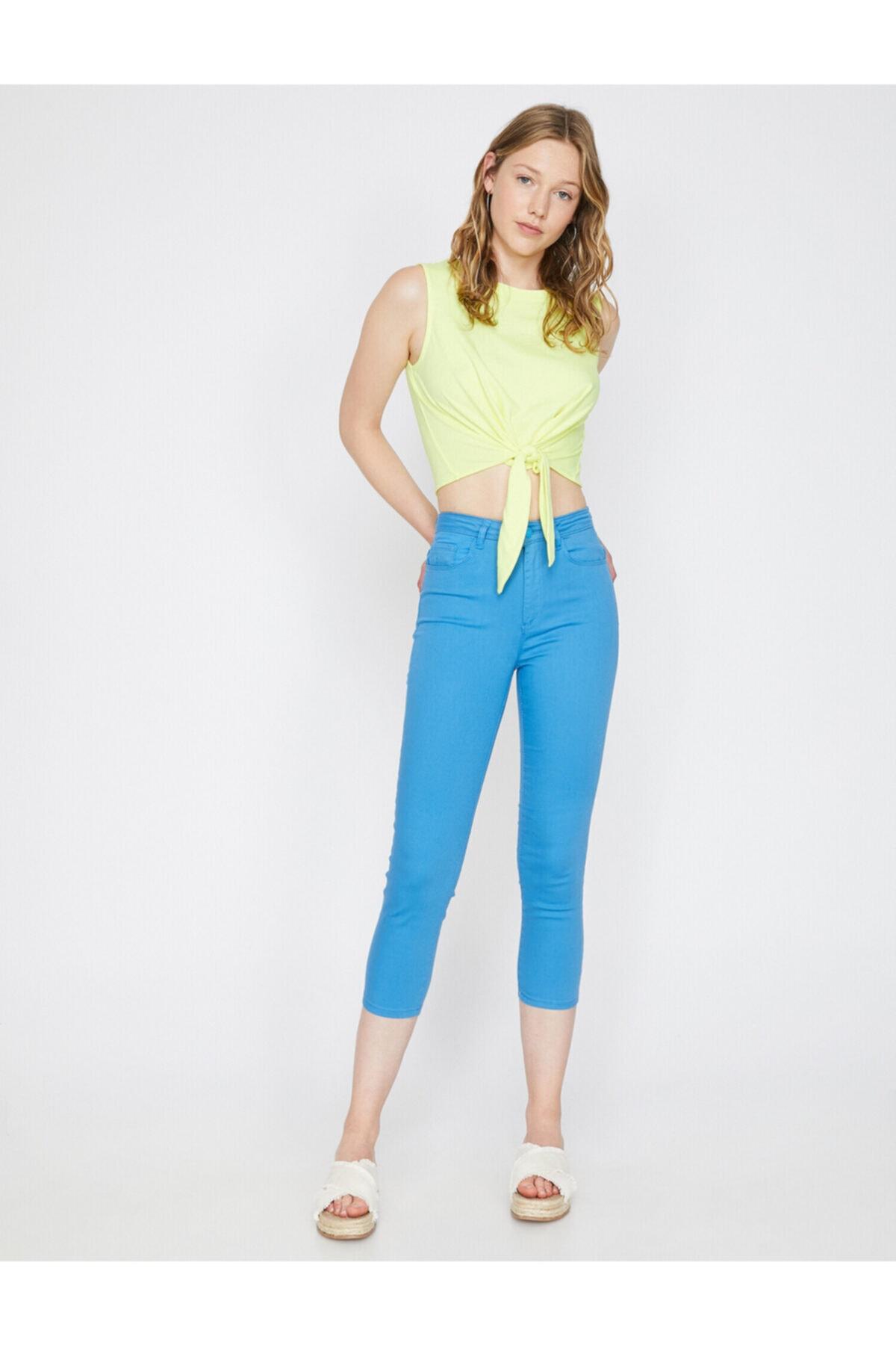 Kadın Mavi Normal Bel Dar Kesim Cep Detaylı Pantolon 9YAL41331MW