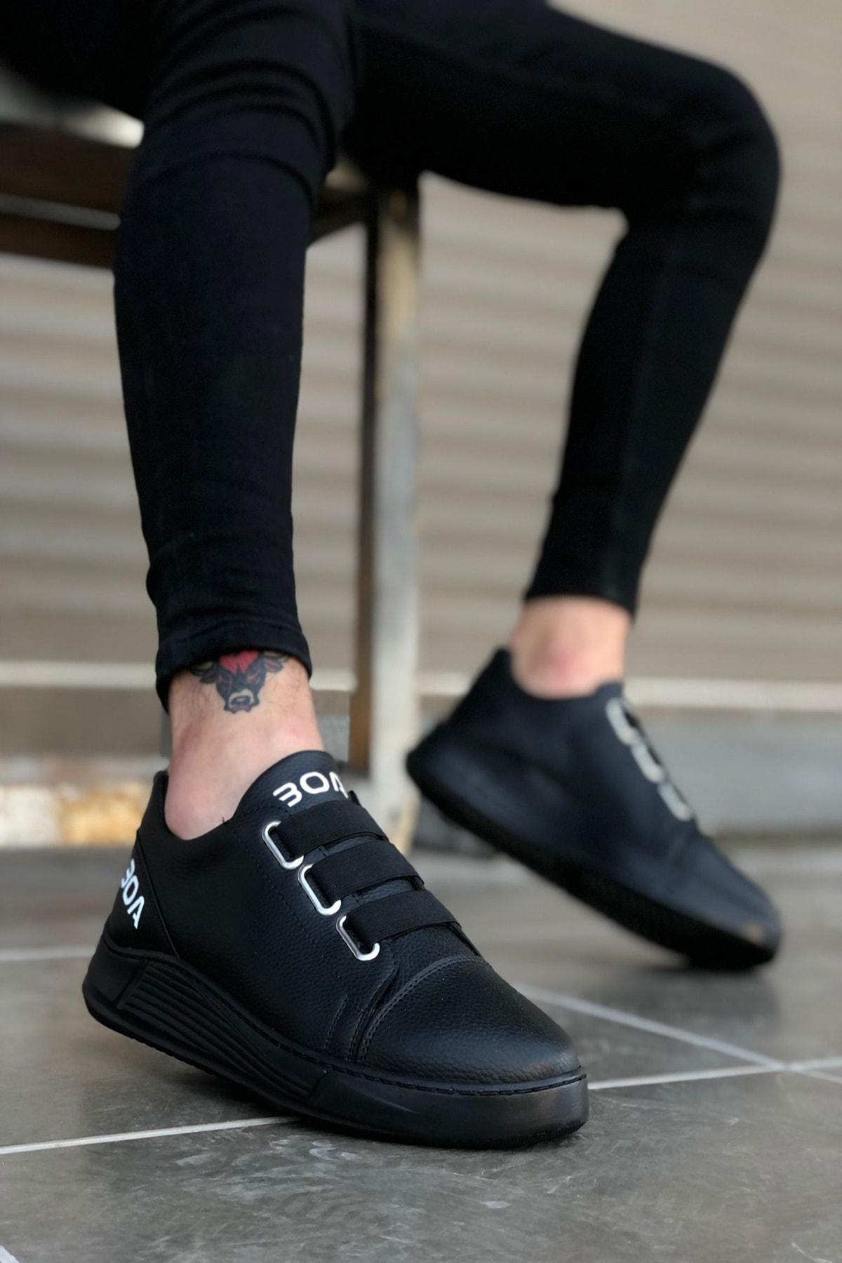 Siyah Bağcıklı Erkek Sneakers