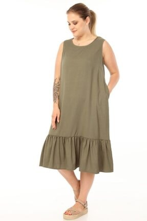 Picture of Haki Büyük Beden Elbise-