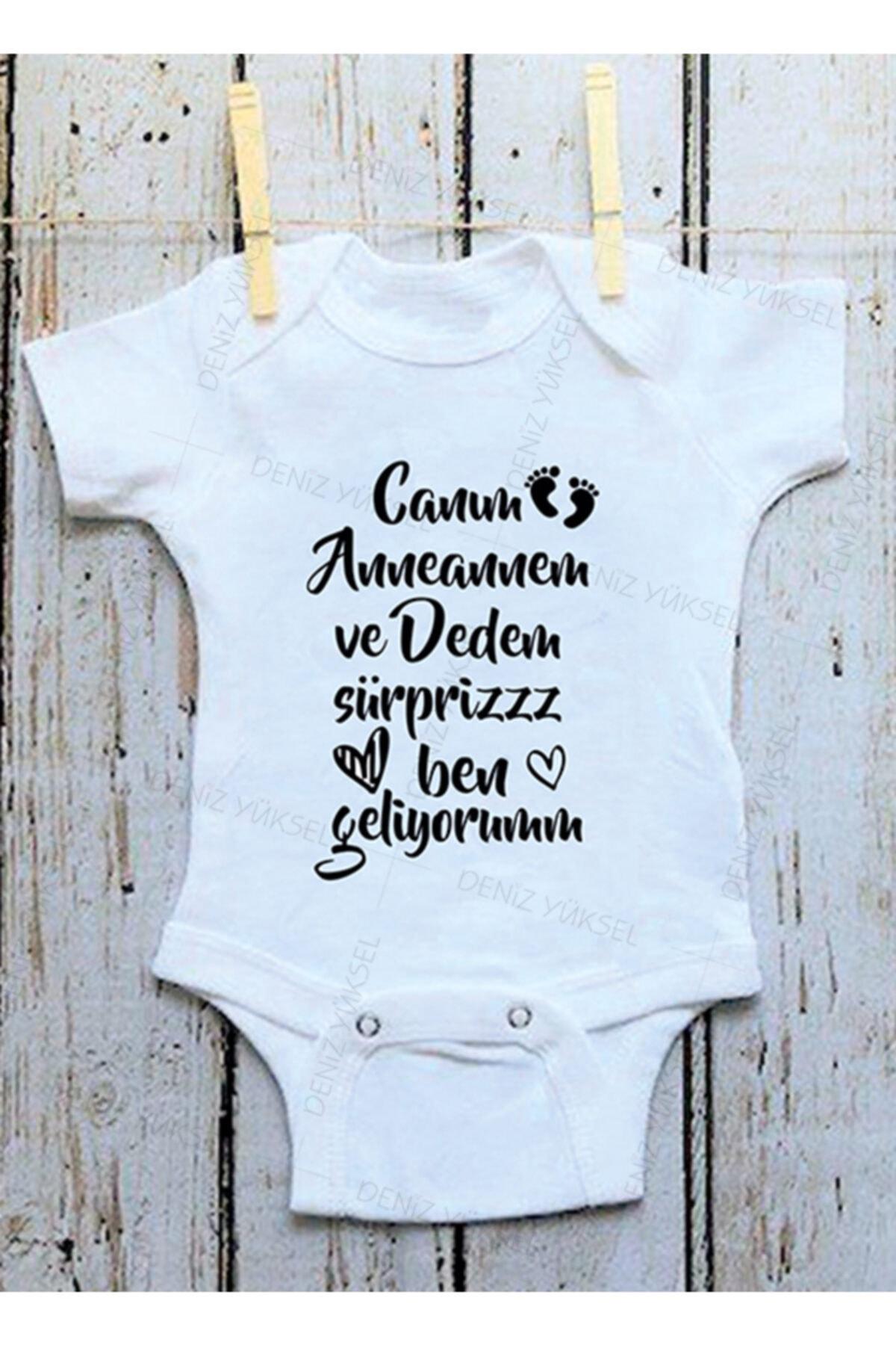 Unisex Bebek Beyaz Canım Anneannem Ve Dedem Sürpriz Ben Geliyorum Zıbın
