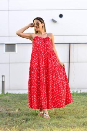 Kırmızı Elbise Halat Askılı Uzun Elbise 3250458477888728
