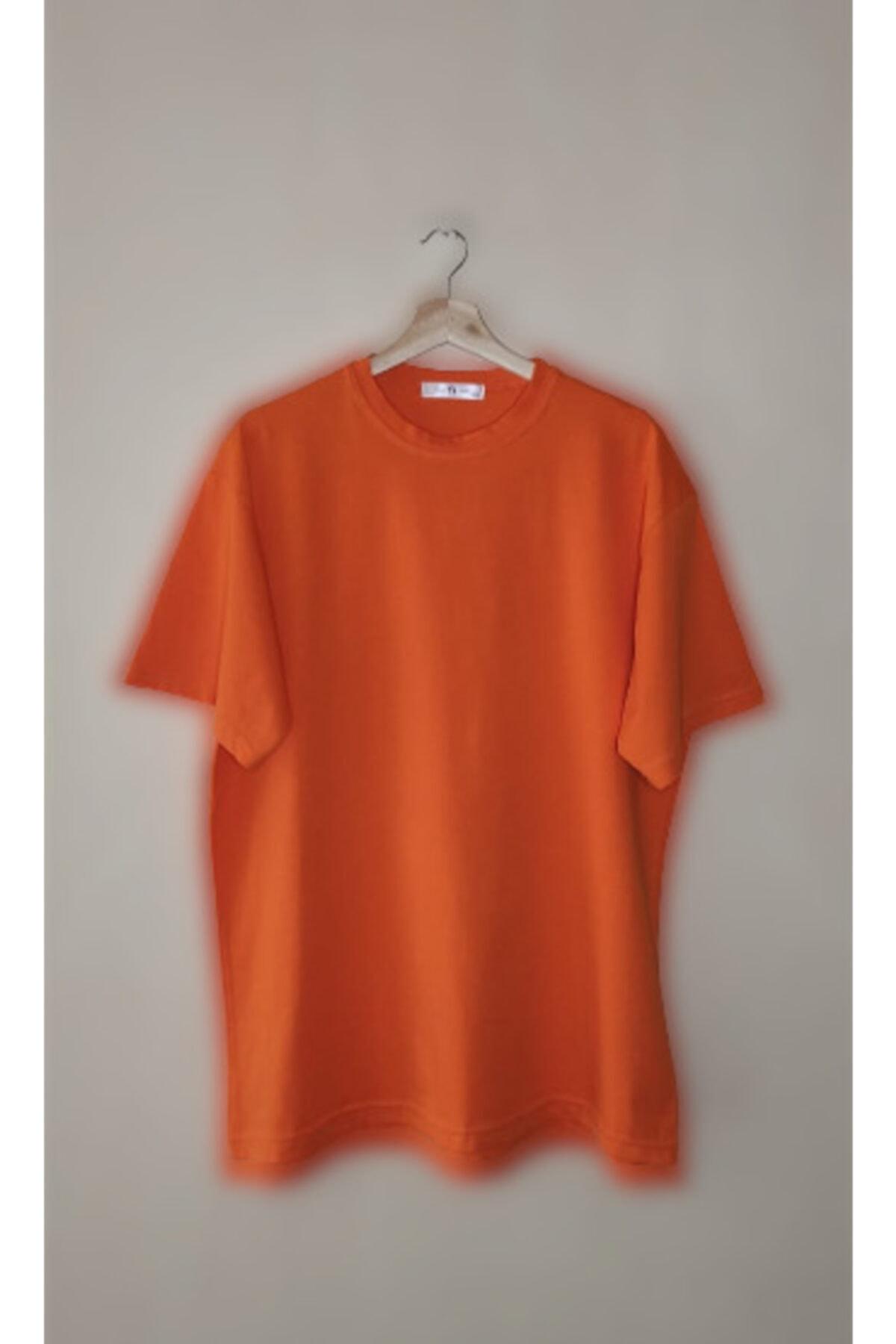 Unisex Turuncu Oversize Tişört