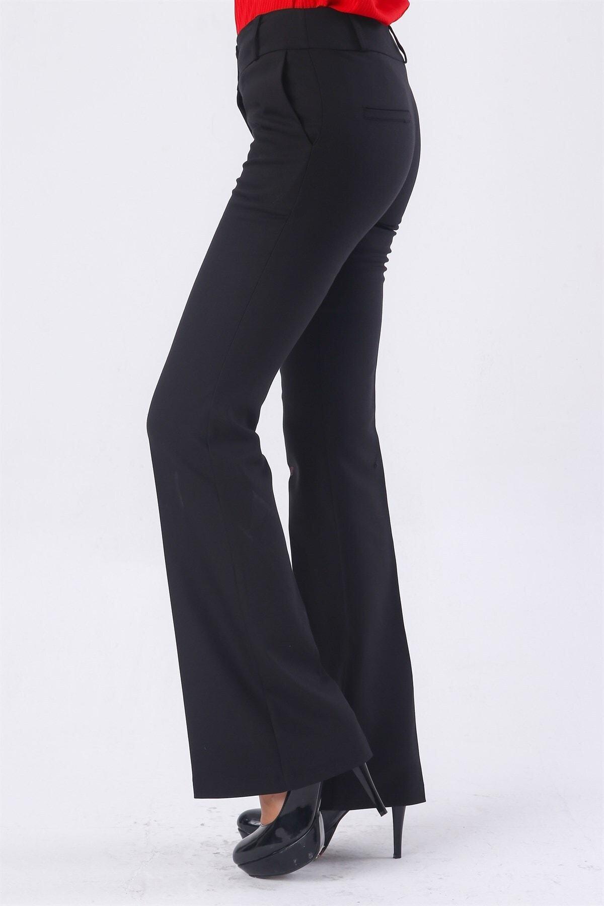 Jument Kadın Kalın Kemerli Cepli Ispanyol Bol Paça Likralı Kumaş Pantolon-siyah