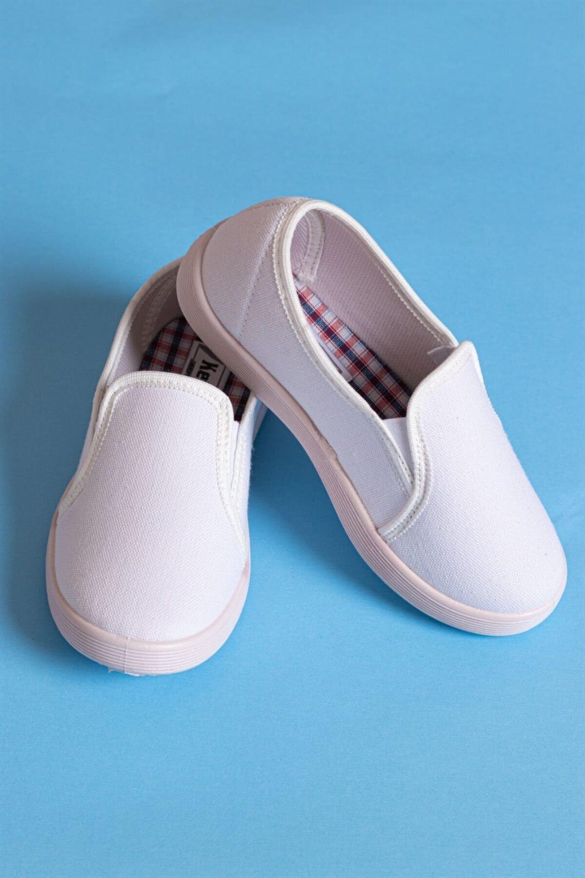 Çocuk Klasik - Günlük Ayakkabı - Keten Ayakkabı- Beyaz