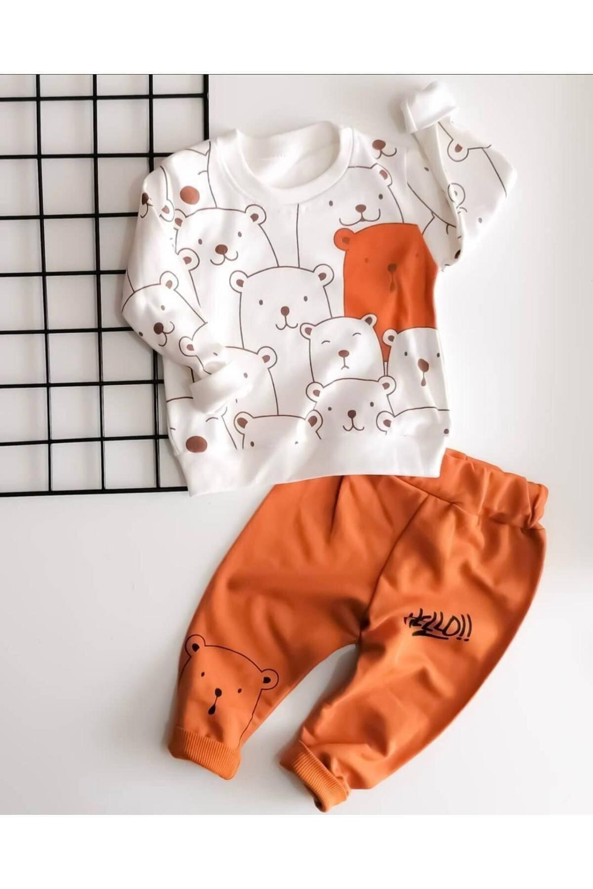 Hello Ayılar Desenli Bebek Alt Üst Takım