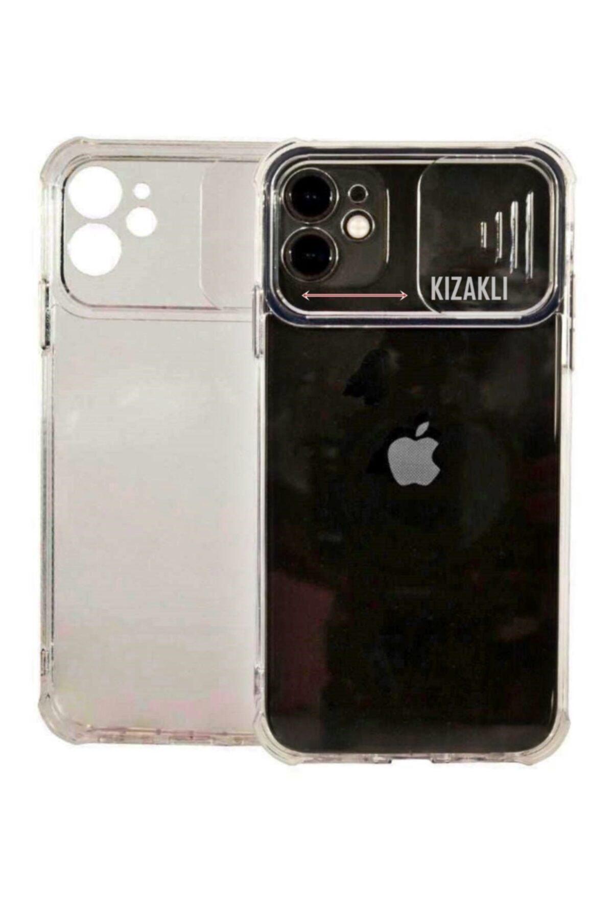 Apple Iphone 12 Pro Max Slikon Şeffaf Kamera Korumalı Kızaklı Sürgülü Kılıf
