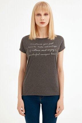 Fullamoda Kadın Antrasit Simli Yazı Baskılı Tshirt 2