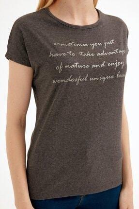 Fullamoda Kadın Antrasit Simli Yazı Baskılı Tshirt 4