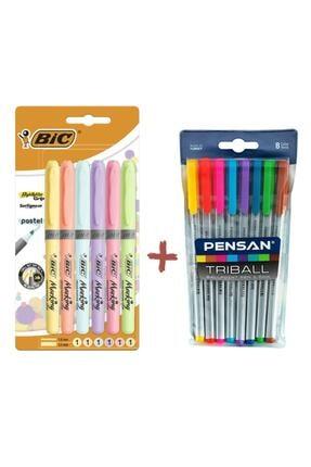 Pensan Triball 8 Li Tükenmez + Bic 6 Lı Pastel Fosforlu Kalem 0