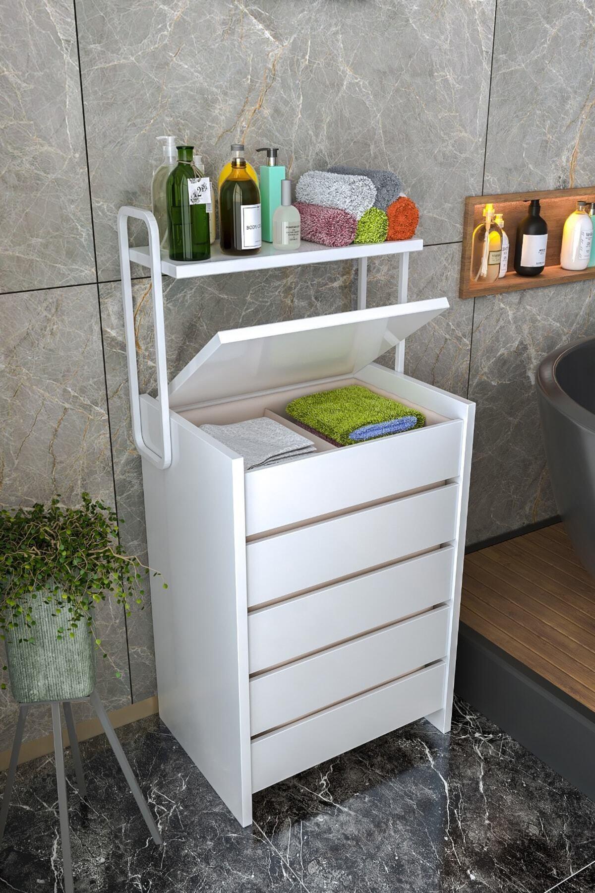 Beyaz Ahşap Banyo Kirli Çamaşır Sepeti