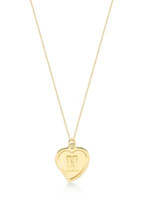 Gelin Pırlanta Kadın Altın 14 Ayar Kalp H Harfi Kolye 3