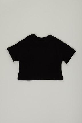 PAULMARK Kız Çocuk Siyah Parlak Yazılı T-shirt 1