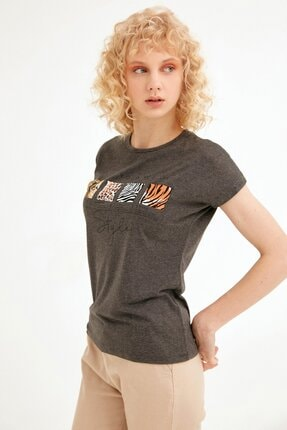 Fullamoda Kadın Antrasit Baskılı Tshirt 1