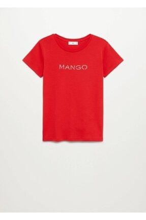 Mango Kadın Kırmızı Organik Pamuklu Logolu Tişört 2