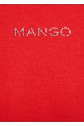 Mango Kadın Kırmızı Organik Pamuklu Logolu Tişört 4