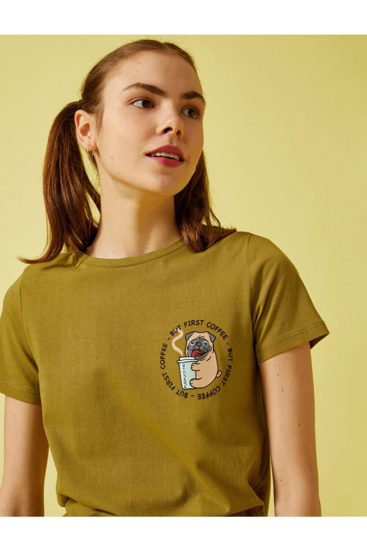 Kadın Baskili Bisiklet Yaka Pamuklu T-Shirt