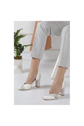Loretta Beyaz Topuklu Ayakkabı HNTEKSTİL4170