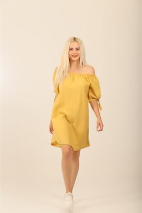 Omuz Dekolteli Gömlek Elbise SLD00019