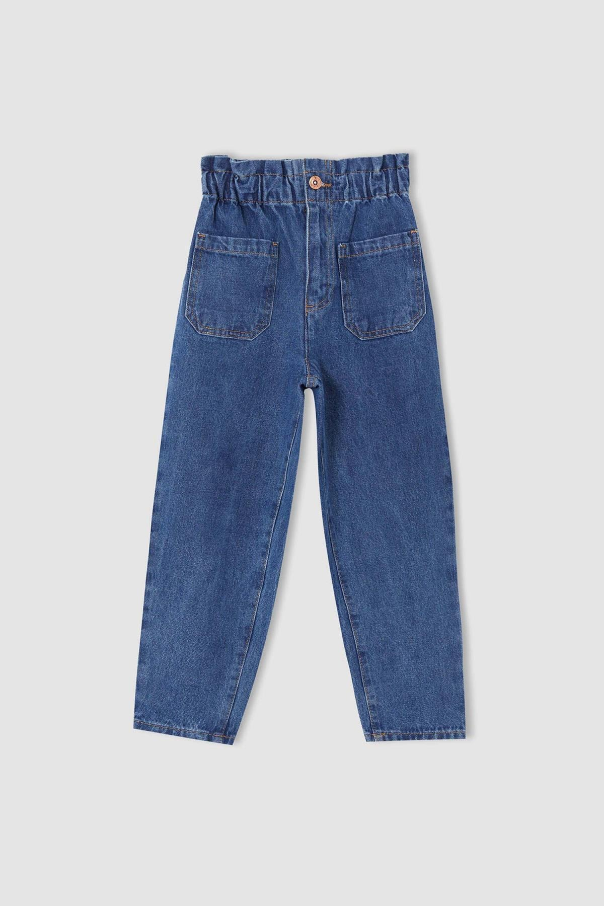 Defacto Kız Çocuk Mavi Slouchy Fit Paperbag Bel Fit Jean Pantolon