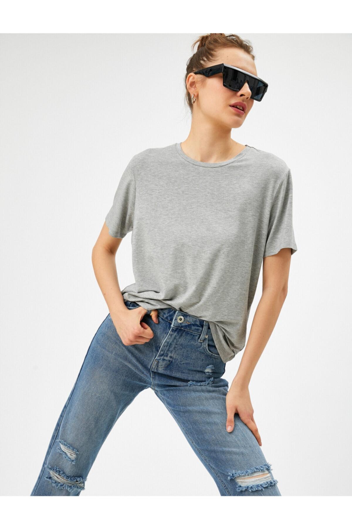 Kadın Gri Oversize T-Shirt