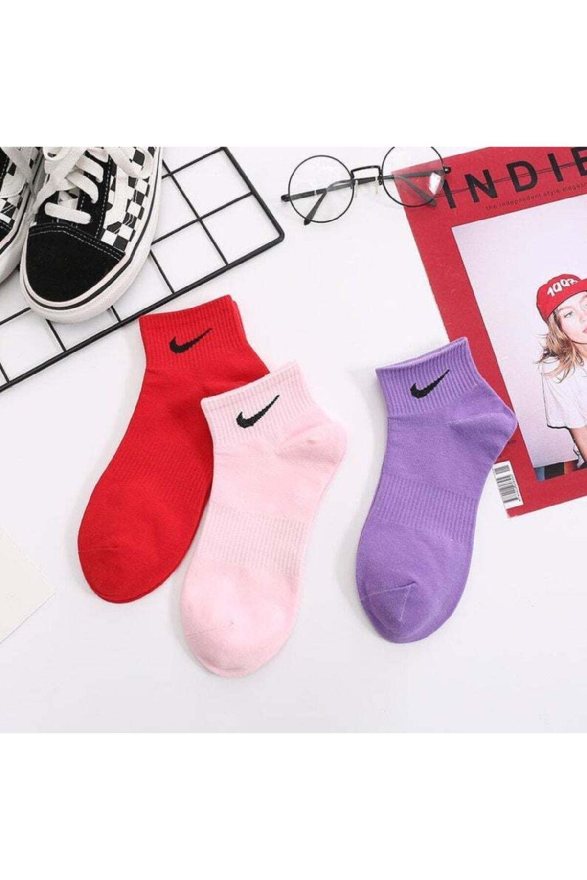 Renkli Çorap Seti Tik İşaretli 3'lü