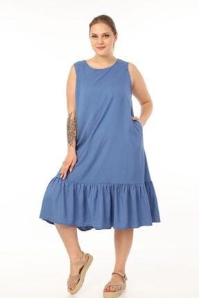 Picture of Kadın Indigo Büyük Beden Elbise