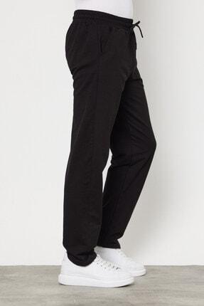 COMEOR Siyah Erkek Düz Paça Rahat Kesim Mevsimlik Premium Kumaş Eşofman Altı 4