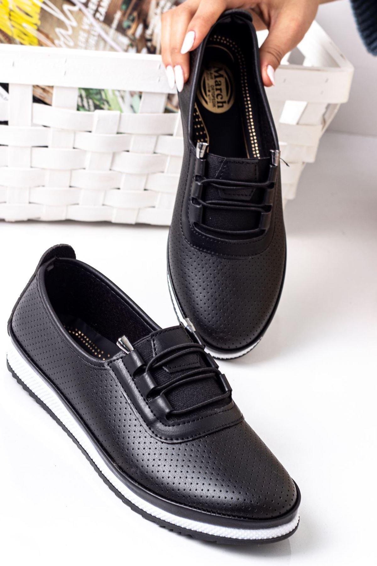 Kadın Ortopedik Rahat Babet Spor Ayakkabı-siyah