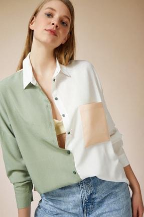 تصویر از Kadın Açık Çağla Yeşili Blok Renkli Oversize Viskon Gömlek DD00843