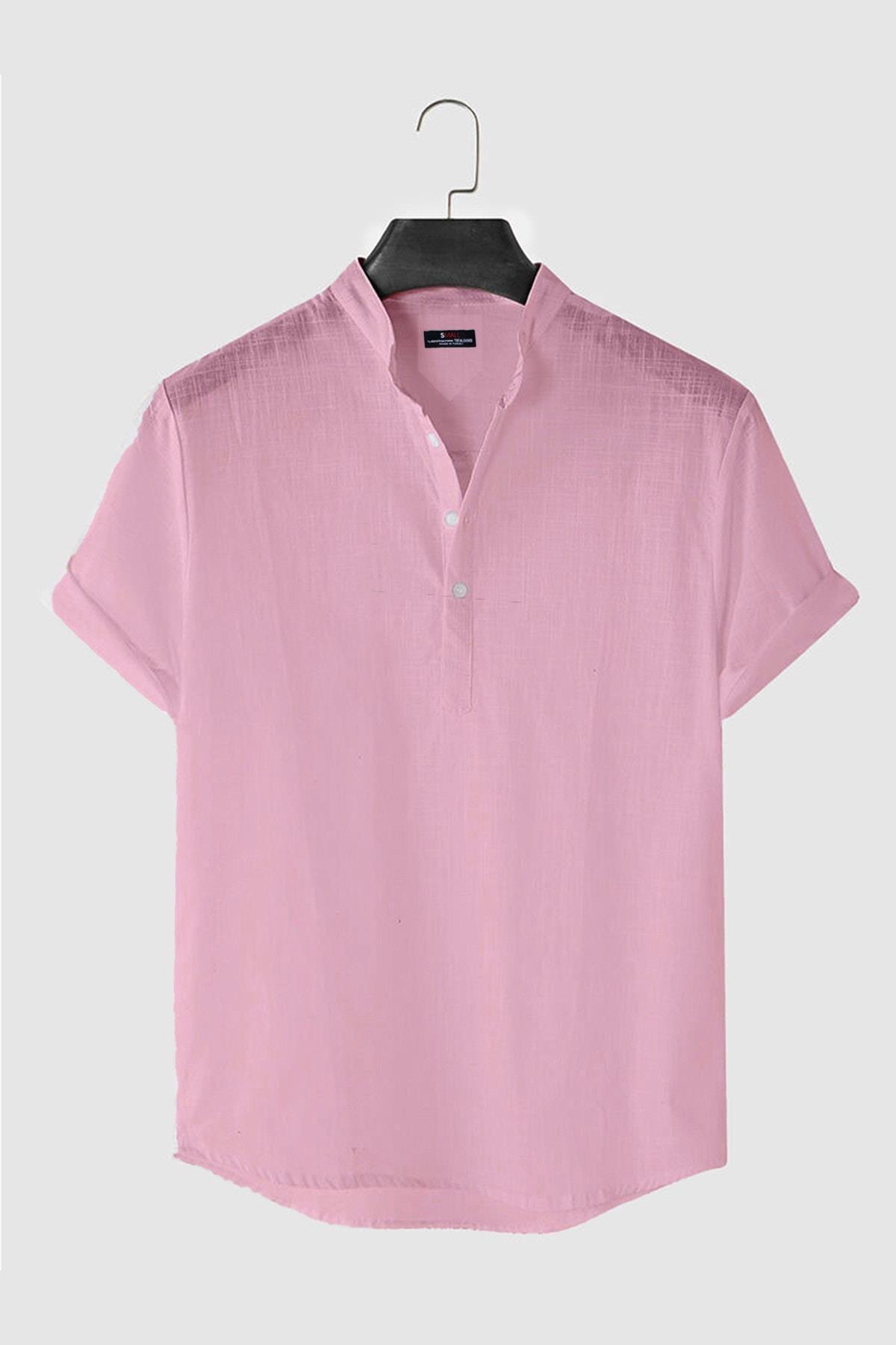 Vernon Hakim Yaka Kısa Kollu Comfort Fit Erkek Keten Gömlek