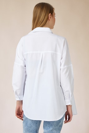 Happiness İst. Kadın Beyaz Oversize Uzun Basic Gömlek DD00842 2