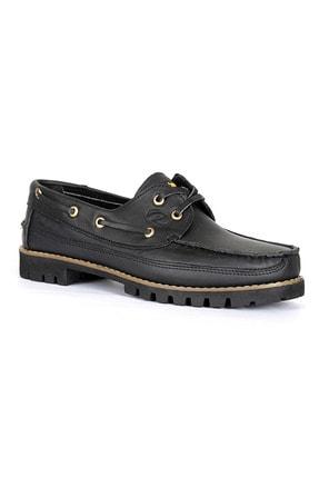 Erkek Kışlık Hakiki Deri Ayakkabı Siyah Renk resmi