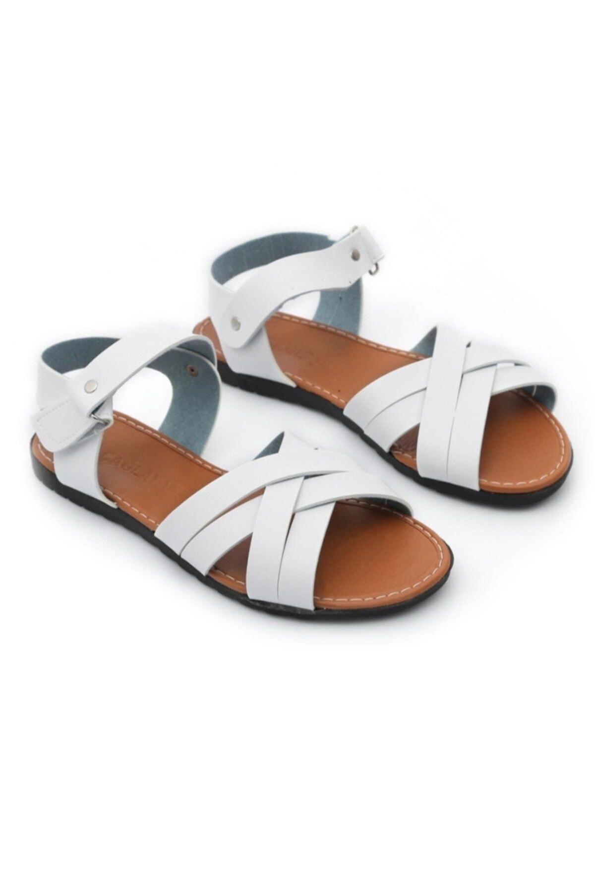 Gladyatör Kadın Beyaz Sandalet