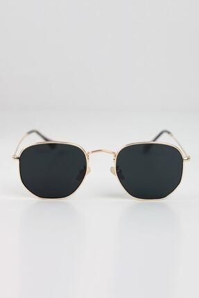 Curly Accessories Unisex Gold Beşgen Altın Vintage Güneş Gözlüğü 0