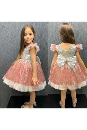 - Somon Renk Geçişli Pullu Payetli Elbise resmi