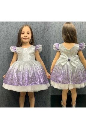 - Lila Mor Renk Geçişli Pullu Payetli Elbise resmi