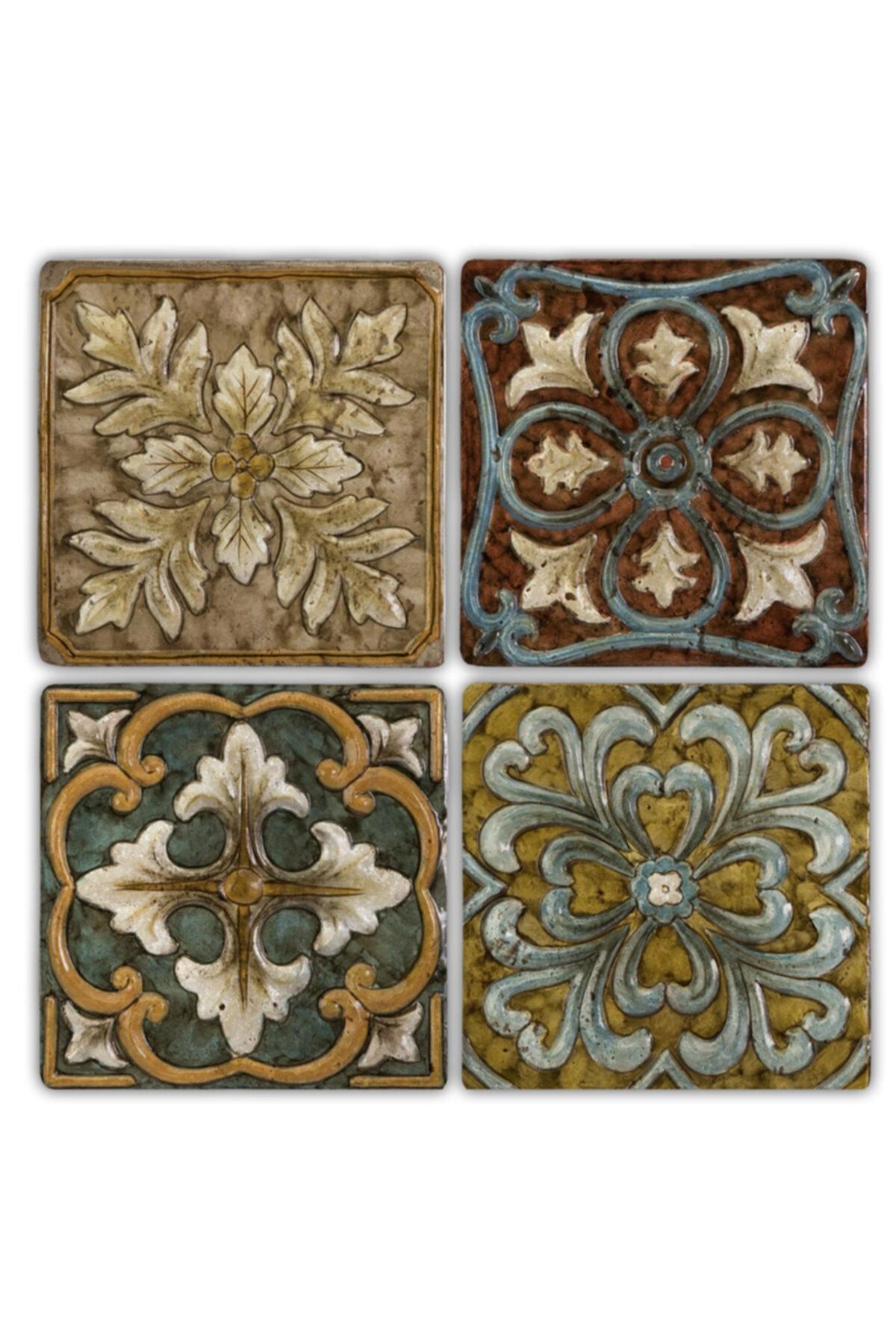 Taş Bardak Altlığı Stone Coasters 4'lü Set 10 x10 cm Desen Tile Pattern