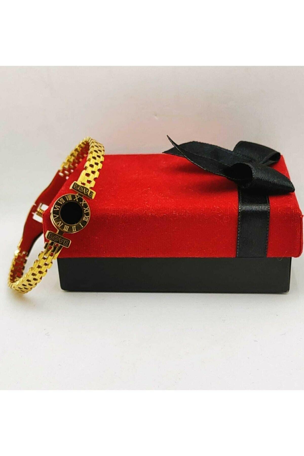 Kordon Model Roma Rakamlı Gold Altın Kaplama Bileklik